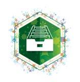 Φακέλλων αρχείων γραφείων πράσινο hexagon κουμπί σχεδίων εγκαταστάσεων εικονιδίων floral ελεύθερη απεικόνιση δικαιώματος