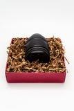 Φακός ζουμ καμερών στο κιβώτιο δώρων Στοκ Εικόνα
