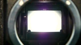 Φακός καμερών κινηματογραφήσεων σε πρώτο πλάνο Μετάβαση ανοιγμάτων παραθυρόφυλλων καμερών σε σε αργή κίνηση απόθεμα βίντεο