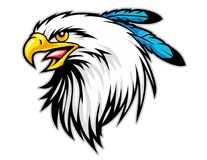 φαλακρό κεφάλι αετών με την μπλε μασκότ κινούμενων σχεδίων φτερών μπορέστε να χρησιμοποιήσετε για το αθλητικό λογότυπο διανυσματική απεικόνιση
