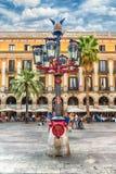 Φανάρι από το Antoni Gaudi σε Placa Reial, Βαρκελώνη, Καταλωνία, SP Στοκ Φωτογραφία