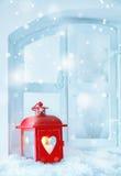 Φανάρι Χριστουγέννων με το μειωμένο χιόνι Στοκ Εικόνες