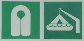 Φανέλλα ζωής και σημάδι ναυαγοσωστικών λέμβων στοκ φωτογραφίες