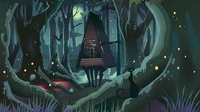 Φαντασίας αποκριών δασικά δέντρα μαγισσών νύχτας απεικόνισης σκοτεινά ελεύθερη απεικόνιση δικαιώματος
