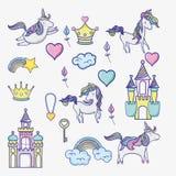 Φαντασία και μαγικά παγκόσμια doodle εικονίδια ελεύθερη απεικόνιση δικαιώματος