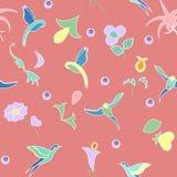 Φαντασία των εξωτικών λουλουδιών και των πουλιών του παραδείσου διανυσματική απεικόνιση