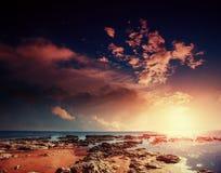 Φανταστική άποψη της επιφύλαξης φύσης Monte Cofano Δραματικός Στοκ εικόνες με δικαίωμα ελεύθερης χρήσης