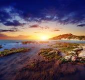 Φανταστική άποψη της επιφύλαξης φύσης Monte Cofano Δραματικός Στοκ Εικόνες