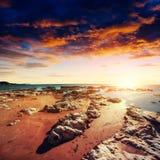 Φανταστική άποψη της επιφύλαξης φύσης Monte Cofano Δραματικός Στοκ φωτογραφία με δικαίωμα ελεύθερης χρήσης