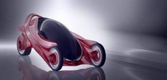 Φανταστική έννοια αυτοκινήτων του μελλοντικού ηλεκτρο τρισδιάστατου rend τριών ροδών ελεύθερη απεικόνιση δικαιώματος