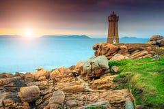 Φανταστική ακτή του Ατλαντικού Ωκεανού στην περιοχή της Βρετάνης, Ploumanach, Γαλλία, Ευρώπη Στοκ φωτογραφίες με δικαίωμα ελεύθερης χρήσης