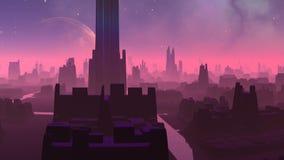 Φανταστική (αλλοδαπή) πόλη και τεράστιος πλανήτης απεικόνιση αποθεμάτων