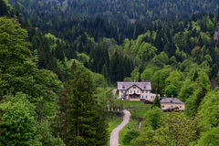 Φανταστική εναέρια άποψη σχετικά με το διάσημο χωριό Hallstatt και την αλπική λίμνη, αυστριακές Άλπεις, Salzkammergut, Αυστρία, Ε Στοκ Εικόνες