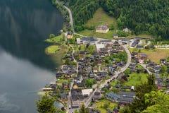 Φανταστική εναέρια άποψη σχετικά με το διάσημο χωριό Hallstatt και την αλπική λίμνη, αυστριακές Άλπεις, Salzkammergut, Αυστρία, Ε Στοκ Φωτογραφίες