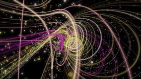 Φανταστική ζωτικότητα με το αντικείμενο και τα μόρια λωρίδων στο σε αργή κίνηση, βρόχο 4096x2304 4K απεικόνιση αποθεμάτων