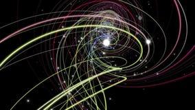 Φανταστική ζωτικότητα με το αντικείμενο και τα μόρια λωρίδων στο σε αργή κίνηση, βρόχο 4K 4096x2304 απεικόνιση αποθεμάτων