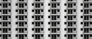 Φανταστική τρισδιάστατη απόδοση των ανώνυμων διαμερισμάτων σε ένα πολυόροφο κτίριο πόλεων Στοκ Εικόνες