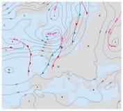 Φανταστικός καιρικός χάρτης Ευρώπη που παρουσιάζει isobars και καιρικά μέτωπα ελεύθερη απεικόνιση δικαιώματος