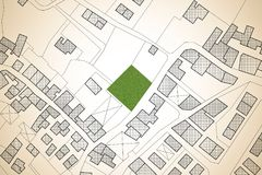 Φανταστικός κτηματολογικός χάρτης του εδάφους με ένα ελεύθερο πράσινο avai εδάφους διανυσματική απεικόνιση