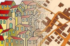 Φανταστικός κτηματολογικός χάρτης του εδάφους με τα κτήρια και τους δρόμους - Στοκ Εικόνα
