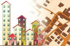 Φανταστικός κτηματολογικός χάρτης του εδάφους με τα κτήρια και τους δρόμους - Στοκ φωτογραφία με δικαίωμα ελεύθερης χρήσης