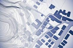 Φανταστικός κτηματολογικός χάρτης του εδάφους με το χάρτη ανακούφισης - έννοια ι διανυσματική απεικόνιση