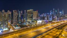 Φανταστικός ορίζοντας στεγών της μαρίνας του Ντουμπάι timelapse απόθεμα βίντεο