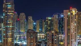 Φανταστικός ορίζοντας στεγών της μαρίνας του Ντουμπάι timelapse φιλμ μικρού μήκους
