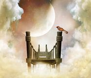 φανταστικός ουρανός γεφ&u απεικόνιση αποθεμάτων