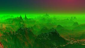 Φανταστικός πλανήτης σε μια πράσινη υδρονέφωση διανυσματική απεικόνιση