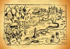Φανταστικός σχεδιαζόμενος χέρι παλαιός χάρτης ελεύθερη απεικόνιση δικαιώματος