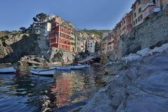 Φανταστικός υαλώδης κόλπος Riomaggiore Στοκ Εικόνες