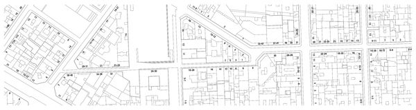 Φανταστικός χάρτης κτηματολόγιων του εδάφους με τις οδούς κτηρίων και τους αριθμούς σπιτιών διανυσματική απεικόνιση