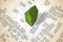 Φανταστικός χάρτης πόλεων με ένα πράσινο κτήριο - η αρχιτεκτονική του μέλλοντος - εικόνα έννοιας στοκ φωτογραφίες με δικαίωμα ελεύθερης χρήσης