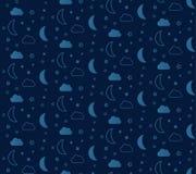 Φανταστικό άνευ ραφής σχέδιο με τα αστέρια και τα φεγγάρια Στοκ εικόνα με δικαίωμα ελεύθερης χρήσης