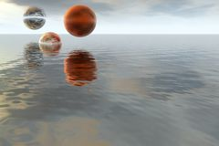Φανταστικό αφηρημένο τοπίο - ωκεανός και πλανήτης Στοκ φωτογραφίες με δικαίωμα ελεύθερης χρήσης