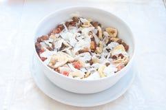 Φανταστικό γεμισμένο φλυτζάνι πορσελάνης των δημητριακών, των φρούτων και της καρύδας φ Στοκ Εικόνες