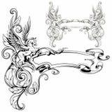 Φανταστικό ζωικό διανυσματικό illus διακοσμήσεων Pegasus φτερωτό εραλδικό Στοκ Φωτογραφία