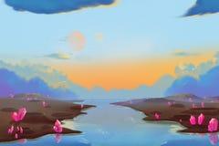 Φανταστικό και εξωτικό περιβάλλον πλανητών Άλλεν: Κρατήρας μετεωριτών διανυσματική απεικόνιση