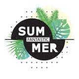 Φανταστικό καλοκαίρι Υπόβαθρο με τα τροπικά φύλλα φοινικών Διανυσματική απεικόνιση για την μπλούζα και άλλες χρήσεις διανυσματική απεικόνιση