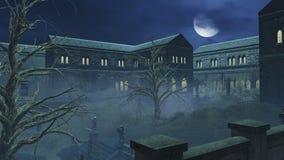 Φανταστικό μεγάλο μισό φεγγάρι επάνω από το ανατριχιαστικό μέγαρο