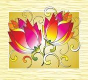 Φανταχτερά λουλούδια για τη ευχετήρια κάρτα Στοκ Εικόνες