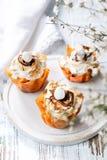 Φανταχτερά φλυτζάνια ζύμης Phyllo με τη μαρέγκα και τη λειωμένη σοκολάτα κοντά επάνω σε ένα πιάτο Άσπρο αγροτικό υπόβαθρο με το δ στοκ φωτογραφία με δικαίωμα ελεύθερης χρήσης