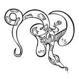 Φανταχτερό μυθικό πετώντας ζωικό φίδι δράκων Στοκ Εικόνα