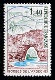 Φαράγγια Ardeche, τουρισμός serie, circa 1971 Στοκ Εικόνες