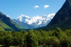 Φαράγγι και τα χιονοσκεπή βουνά στοκ φωτογραφίες