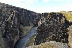 Φαράγγι Fjadrargljufur στην Ισλανδία Στοκ Εικόνες