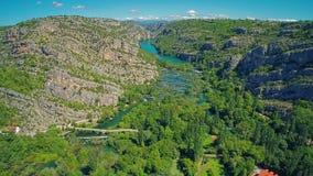 Φαράγγι Krka ποταμών απόθεμα βίντεο