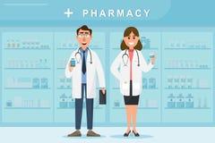Φαρμακείο με το γιατρό και τη νοσοκόμα στο μετρητή ελεύθερη απεικόνιση δικαιώματος
