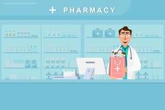 Φαρμακείο με το γιατρό και τη νοσοκόμα στο μετρητή απεικόνιση αποθεμάτων